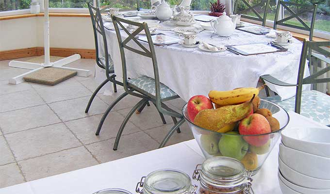 Breakfast is served in the conservatory