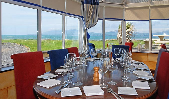 The gourmet restaurant boasts a fine reputation with locally caught fish, lobsters and crayfish, Kerry lamb and much more and the beautiful views are free.